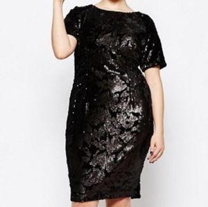 ASOS Missguided Black Sequin Cocktail Dress